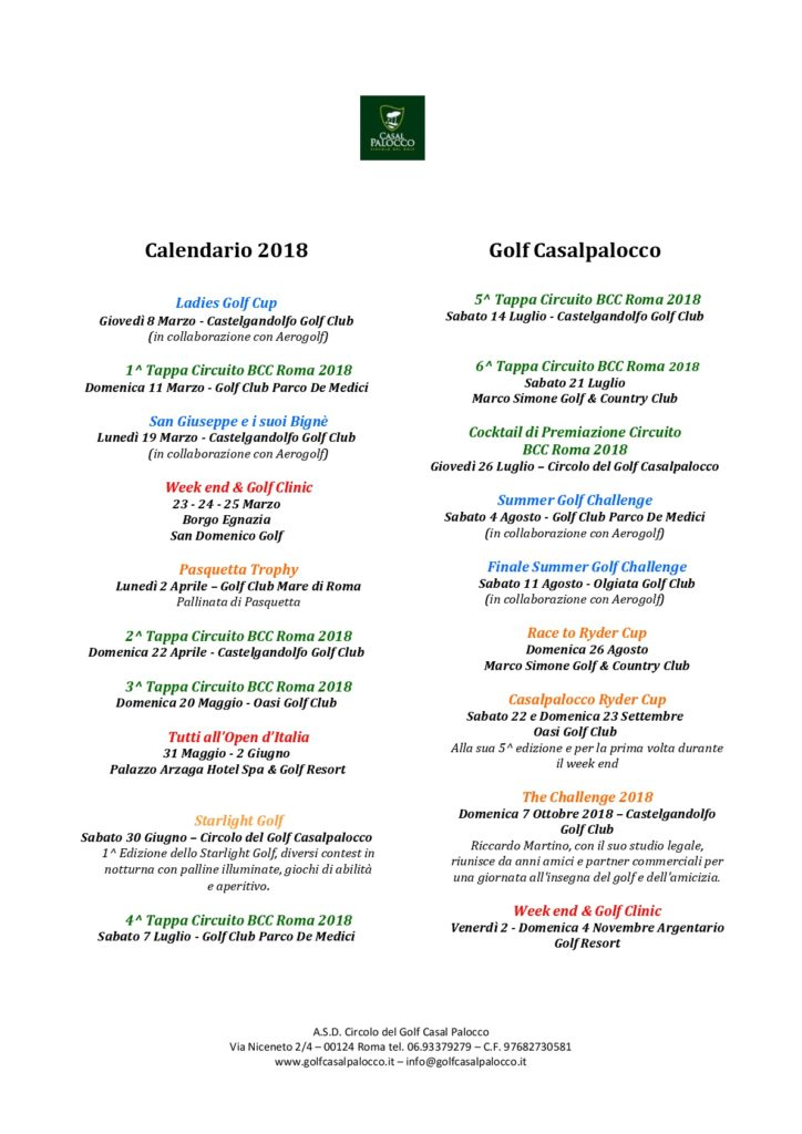 Calendario Golf Casalpalocco 2018-001