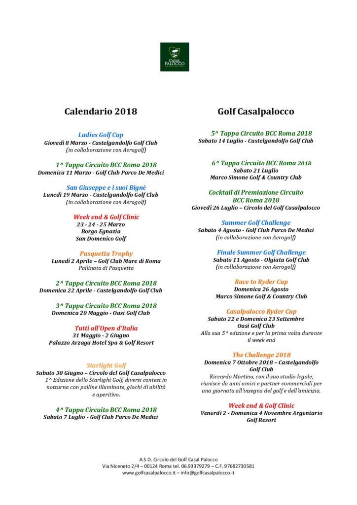 Calendario Golf Casalpalocco 2018-001